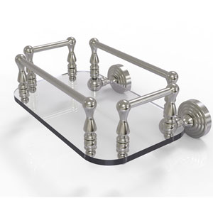 Waverly Place Satin Nickel Eight-Inch Wall Mounted Glass Guest Towel Tray