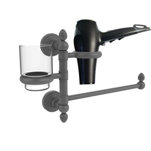 Waverly Place Matte Gray Seven-Inch Hair Dryer Holder and Organizer