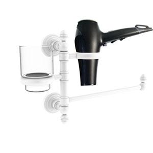 Waverly Place Matte White Seven-Inch Hair Dryer Holder and Organizer