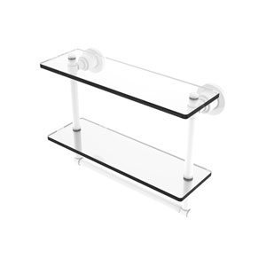 Washington Square Matte White 16-Inch Two Tiered Glass Shelf with Integrated Towel Bar