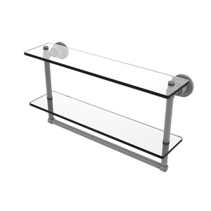 Washington Square Matte Gray 22-Inch Two Tiered Glass Shelf with Integrated Towel Bar