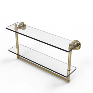 Washington Square Unlacquered Brass 22-Inch Two Tiered Glass Shelf with Integrated Towel Bar