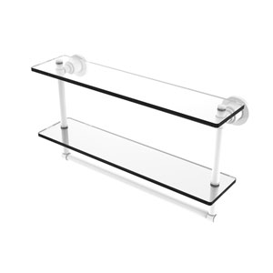Washington Square Matte White 22-Inch Two Tiered Glass Shelf with Integrated Towel Bar