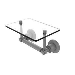 Washington Square Matte Gray Six-Inch Two Post Toilet Tissue Holder with Glass Shelf