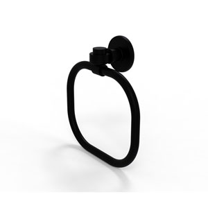 Continental Collection Towel Ring with Groovy Accents, Matte Black