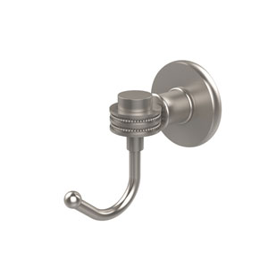 Continental Collection Robe Hook with Dotted Accents, Satin Nickel