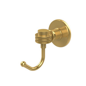 Continental Collection Robe Hook with Dotted Accents, Unlacquered Brass