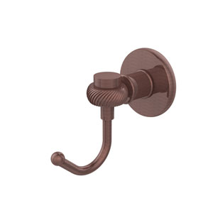 Continental Collection Robe Hook with Twist Accents, Antique Copper