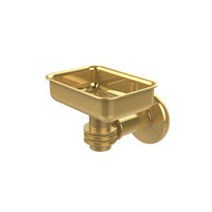 Continental Collection Wall Mounted Soap Dish Holder with Dotted Accents, Unlacquered Brass