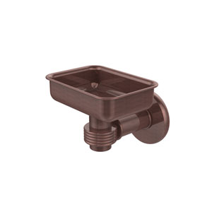 Continental Collection Wall Mounted Soap Dish Holder with Groovy Accents, Antique Copper