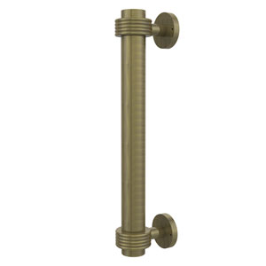 8 Inch Door Pull with Groovy Accents, Antique Brass