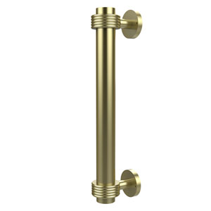 8 Inch Door Pull with Groovy Accents, Satin Brass