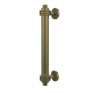 8 Inch Door Pull with Dotted Accents, Antique Brass