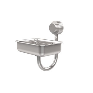 Venus Collection Wall Mounted Soap Dish with Groovy Accents, Polished Chrome