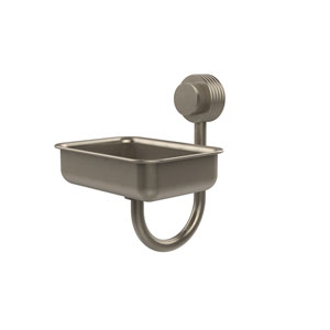 Venus Collection Wall Mounted Soap Dish with Groovy Accents, Antique Pewter