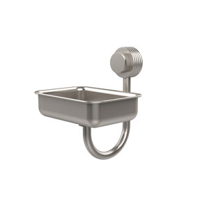 Venus Collection Wall Mounted Soap Dish with Groovy Accents, Satin Nickel