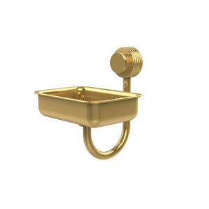 Venus Collection Wall Mounted Soap Dish with Groovy Accents, Unlacquered Brass