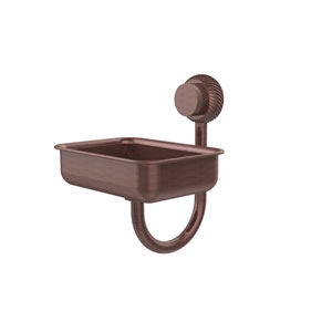 Venus Collection Wall Mounted Soap Dish with Twisted Accents, Antique Copper