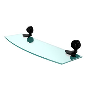 Venus Collection 18 Inch Glass Shelf with Dotted Accents, Matte Black
