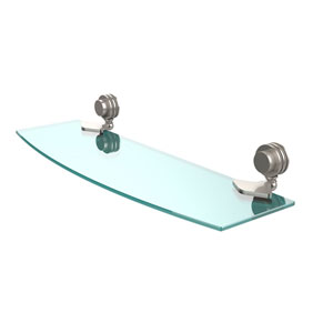 Venus Collection 18 Inch Glass Shelf with Dotted Accents, Satin Nickel