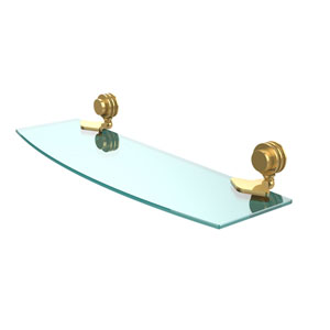 Venus Collection 18 Inch Glass Shelf with Dotted Accents, Unlacquered Brass