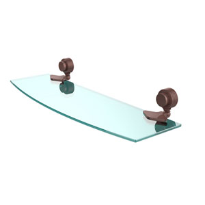 Venus Collection 18 Inch Glass Shelf with Groovy Accents, Antique Copper