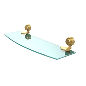 Venus Collection 18 Inch Glass Shelf with Groovy Accents, Polished Brass