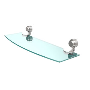 Venus Collection 18 Inch Glass Shelf with Groovy Accents, Polished Chrome