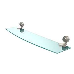 Venus Collection 24 Inch Glass Shelf with Groovy Accents, Satin Nickel