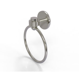 Satellite Orbit One Collection Towel Ring with Groovy Accent, Satin Nickel