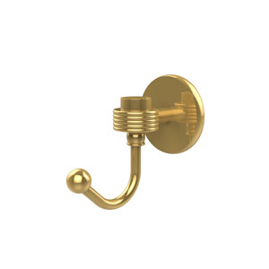 Satellite Orbit One Robe Hook with Groovy Accents, Unlacquered Brass