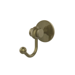 Satellite Orbit Two Collection Robe Hook with Twisted Accents, Antique Brass