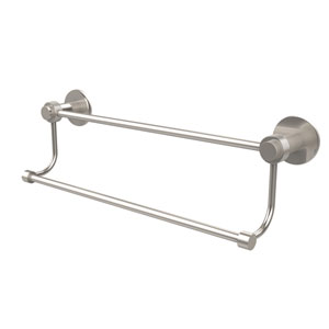 Mercury Collection 24 Inch Double Towel Bar with Groovy Accents, Satin Nickel