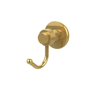 Mercury Collection Robe Hook with Groovy Accents, Unlacquered Brass