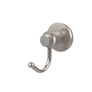 Mercury Collection Robe Hook with Twisted Accents, Satin Nickel