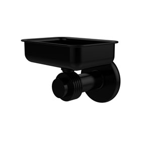 Mercury Collection Wall Mounted Soap Dish with Groovy Accents, Matte Black