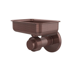 Mercury Collection Wall Mounted Soap Dish with Groovy Accents, Antique Copper