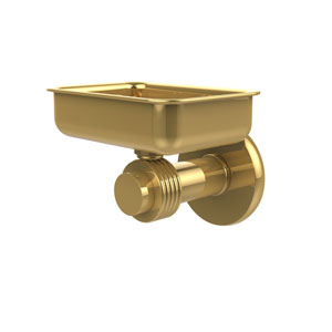 Mercury Collection Wall Mounted Soap Dish with Groovy Accents, Unlacquered Brass