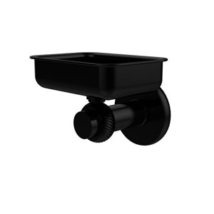 Mercury Collection Wall Mounted Soap Dish with Twisted Accents, Matte Black