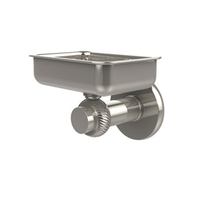 Mercury Collection Wall Mounted Soap Dish with Twisted Accents, Polished Nickel