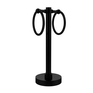 Vanity Top 2 Towel Ring Guest Towel Holder with Dotted Accents, Matte Black