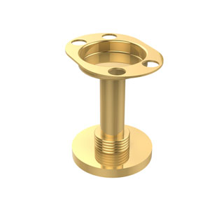 Vanity Top Tumbler and Toothbrush Holder, Unlacquered Brass