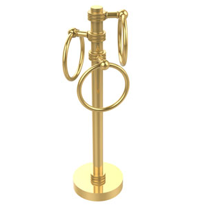 Vanity Top 3 Towel Ring Guest Towel Holder with Dotted Accents, Unlacquered Brass