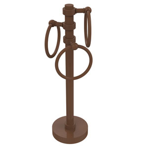 Vanity Top 3 Towel Ring Guest Towel Holder with Groovy Accents, Antique Bronze