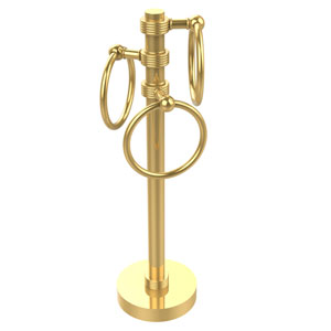 Vanity Top 3 Towel Ring Guest Towel Holder with Groovy Accents, Unlacquered Brass