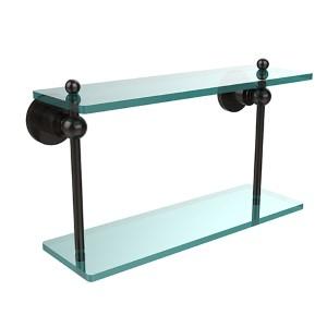 Oil Rubbed Bronze 16-Inch Double Glass Shelf