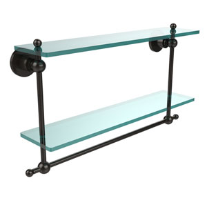 Oil Rubbed Bronze Double Shelf with Towel Bar