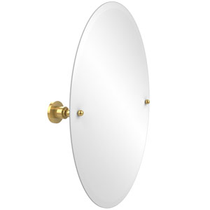 Frameless Oval Tilt Mirror with Beveled Edge, Unlacquered Brass