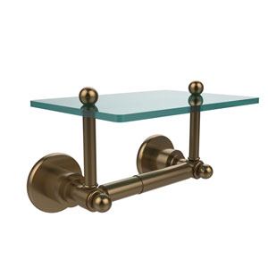 Astor Place Collection Two Post Toilet Tissue Holder with Glass Shelf, Brushed Bronze