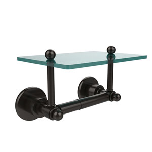 Astor Place Collection Two Post Toilet Tissue Holder with Glass Shelf, Oil Rubbed Bronze